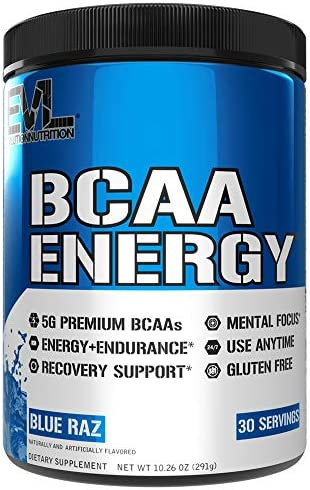 Evlution Nutrition BCAA Energy – Essential BCAA Amino Acids, Vitamin C, Natural Energizers for Performance, Immune Support, Muscle Building, Recovery, B Vitamins, Pre Workout, 30 Serve, Blue Raz