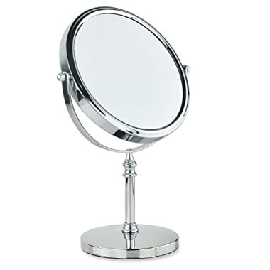 Frcolor Double Sided Tabletop Makeup Mirror 1X/7X Magnifying 2 Style , 8 Inch Standing Table Vanity Mirror on Stand with 360°Rotation