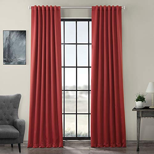 HPD HALF PRICE DRAPES BOCH-181449-108 Blackout Room Darkening Curtain, 50 x 108, Brick Red ()