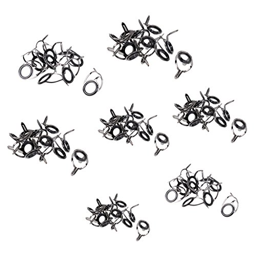 Dovewill 70Pcs Set Ceramic Ring Eyes Repair Kit Stainless Steel Sea Fishing Replacement Rod Guide Tip Eye Rings Tackle Accessories ()