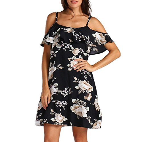 Clearance Sale! Wintialy Women Summer Floral Ruffles Dress Off Shoulder Mini Dress Beach Party Dress ()