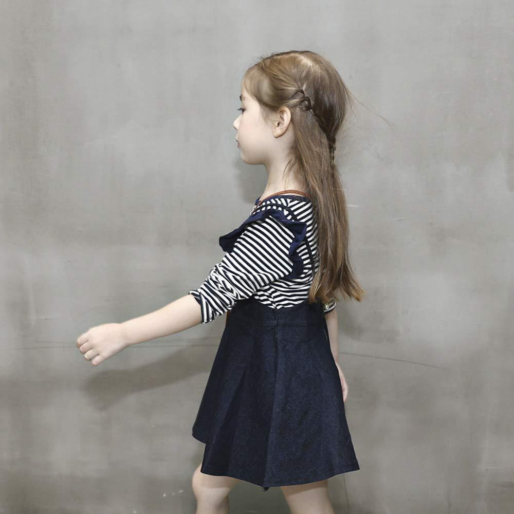 JUXINSU Girls Cotton Long Sleeve T-Shirt Denim Skirt Set for Winter and Autumn 2-7 Years TL612 (Navy, 4T) by JUXINSU (Image #3)