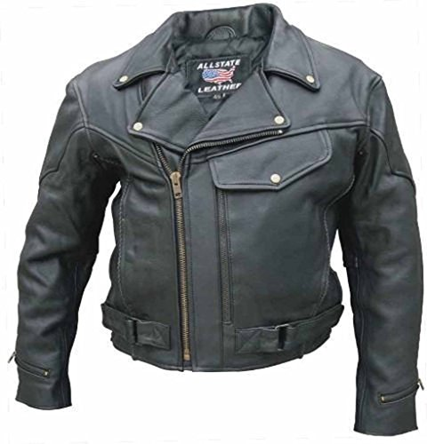 Allstate Leather Black Buffalo Leather Vented Motorcycle ...