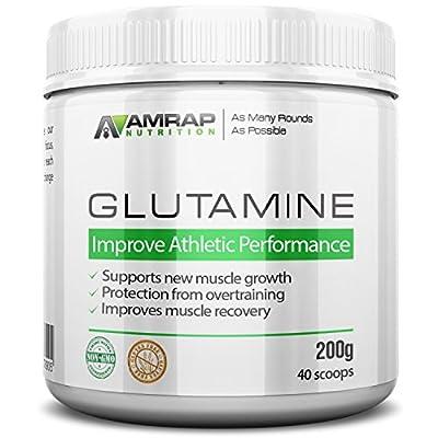 L-Glutamine Powder   AMRAP Nutrition - Pure Micronized Free-Form Glutamine Recovery Powder