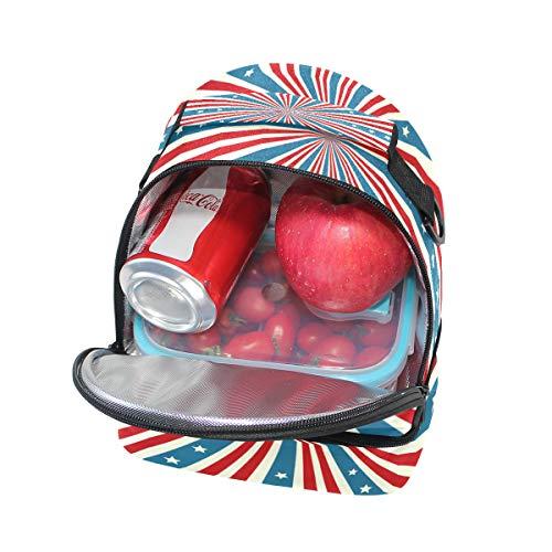 l'école pour bandoulière réglable lunch à Drapeau Boîte Folpply Sac américain Pincnic Cooler avec Tote isotherme à Zqvgx7
