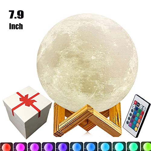- 7.9 inch Moon Lamp,3D Printed Moon Lamps5.9inch/7.1inch/9.1inch/10.1inch/100% 3D Printing LED 16 Colors Moon Light, Touch&Remote Control Decorative Moon Lamp Night Light.