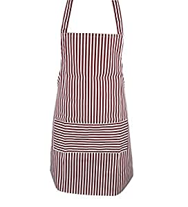 Red White Stripe Kitchen Cooking Catering Work Garden Apron Bib With Pockets