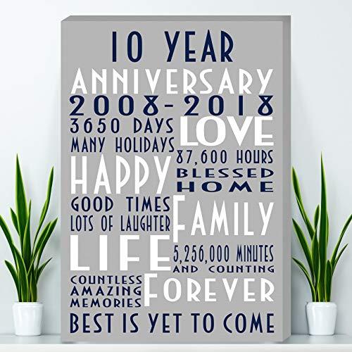 10 Years Anniversary Gift, Tin Anniversary Gift Canvas - Wife Anniversary Gift, Parents Anniversary Gift, Canvas Print (Anniversary Tin Gift)