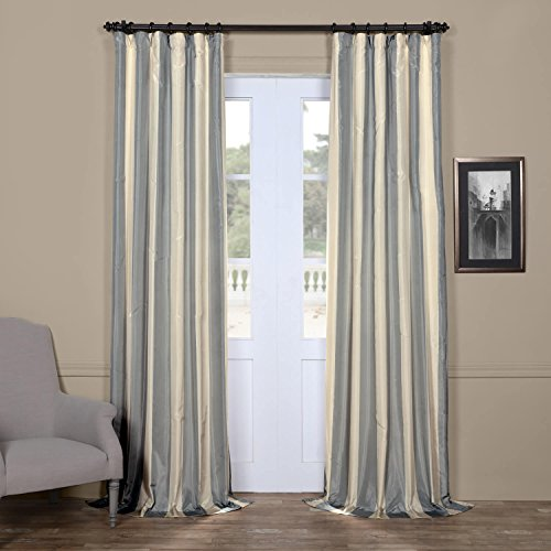 Half Price Drapes PTS-SLK183-96 Faux Silk Taffeta Stripe Curtain, 50 X 96, Hampton - Taffeta Stripe Rod Pocket Curtain