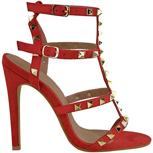 Mode Assoiffée Womens Stud Haut Talon Stiletto Sandales De Fête Rock À Peine Là Chaussures Taille Red Simili Suède