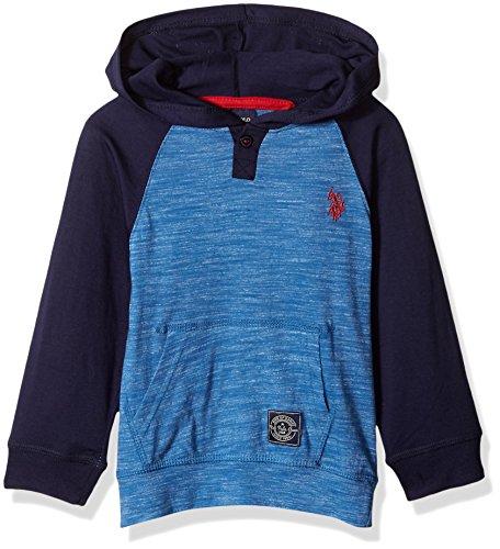 U.S. Polo Assn.. Toddler Boys' Long Sleeve Fleece Hoodie, Colorbloack Henley Classic Navy, 4T - Cotton Fleece Henley