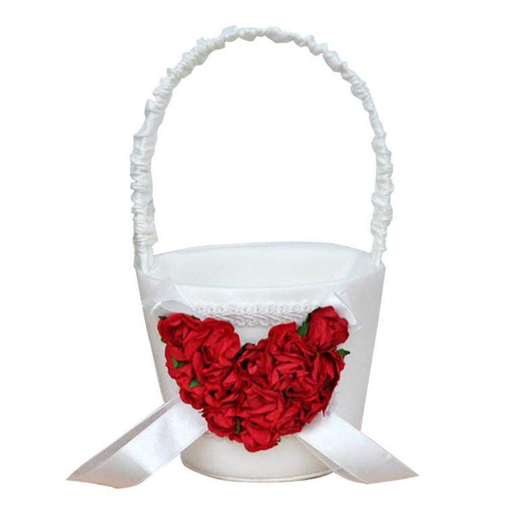Castle Fairy Wedding Ceremony Party Satin Girl Basket Flower Wedding Decoration Red