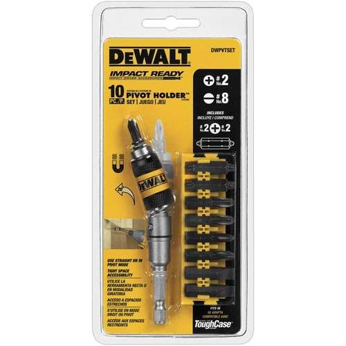 DEWALT DWPVTSET Pivot Holder Set with Bit Bar, 10-Piece