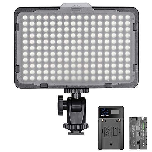Neewer Regulable 176 LED Luz de Video 5600K en Panel de Luz de Cámara con 2600mAh Batería y Cargador USB para Canon, Nikon,...