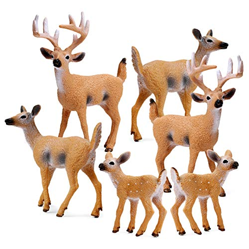 RESTCLOUD Deer Figurines Cake Toppers, Deer Toys Figure, Small Woodland Animals Set of 6 (Childrens Cakes Christmas)