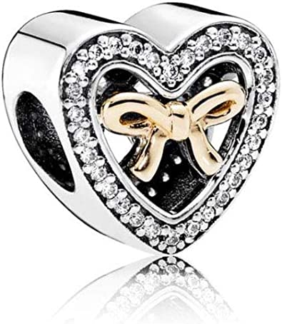 MiniJewelry Compatible with Pandora Charms Bracelets Heart Charms Series  Wedding Charms Marriage Charm Just Married Charm Bow Tie Heart Bead  Sterling ...