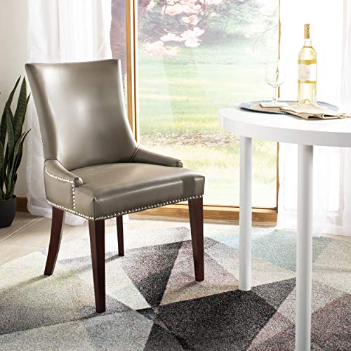 Safavieh Mercer Collection Eva Leather Dining Chair with Trim Nail Head, Grey ()