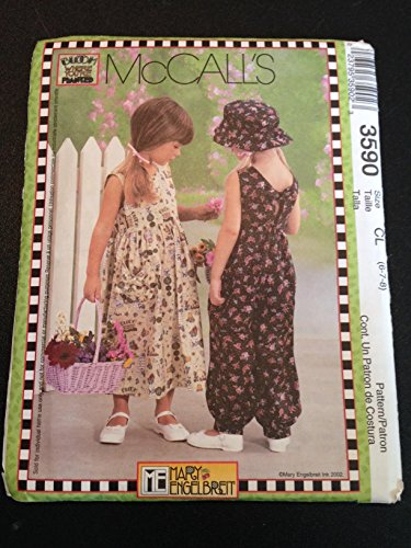 McCall's 3590 Sewing Pattern, Mary Engelbreit Children's and Girls' Dress, Jumpsuit & Hat, Size CL (6-7-8)