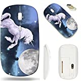 MSD Wireless Mouse White Base Travel 2.4G Wireless Mice with USB Receiver, Noiseless and Silent Click with 1000 DPI for notebook, pc, laptop, computer, mac book design: 11059975 Beautiful unicorn over