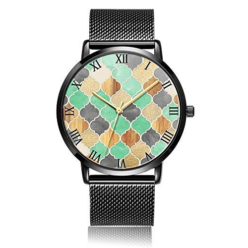 Grain Bin Fans - Classic Creative Hexagon Pattern Waterproof Wrist Watch, Customized Silver Steel & Stainless Steel Waterproof Band Personality Running Watch Unisex