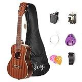 Joy 4 JOY312 24 Inch Concert Sapele Ukulele with Bag,Strap,Digital Tuner, Pick Holder, Additional Set of Aquila String, 24\