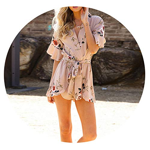 Bohemian Floral Print Sexy Rompers Short Overalls Top Macacao Feminino Women,Style -