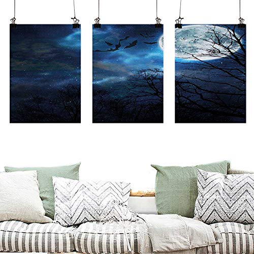 Agoza Canvas Pictures Halloween Bats Flying in Majestic Night Sky Moon Nebula Mystery Leafless Trees Forest Easy Care Oil Painting 3 Panels 16x24inchx3pcs Blue Black White]()