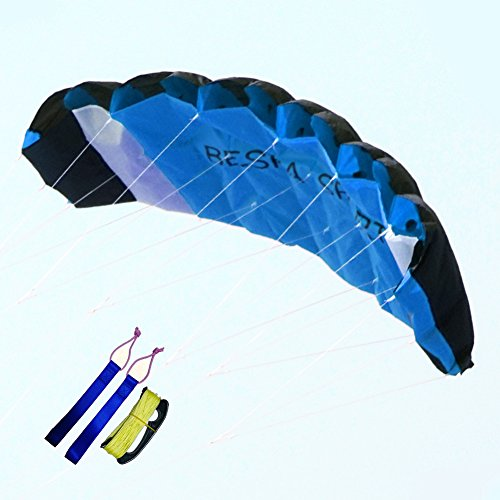 Besra Huge 74inch Dual Line Parachute Stunt Kite with Flying Tools 1.9m Power Parafoil Kitesurfing Training Kites Outdoor Fun Sports for Beach (74inch Blue)