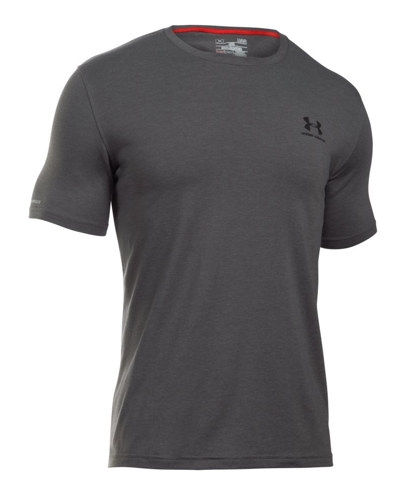 Under Armour Men's Charged Cotton Left Chest Lockup T-Shirt, Carbon Heather /Black, Small by Under Armour (Image #4)