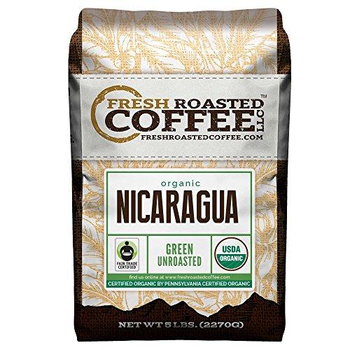 Green Unroasted Coffee, 5 Lb. Bag, Fresh Roasted Coffee LLC. (Organic Nicaragua)