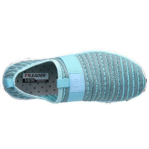 ALEADER Frauen Mesh Slip On Water Schuhe Grau / Blau 9976