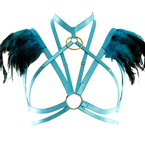 Women Blue Feather Body Harness Bra Tops Adjustable Plus Size Halloween Costume
