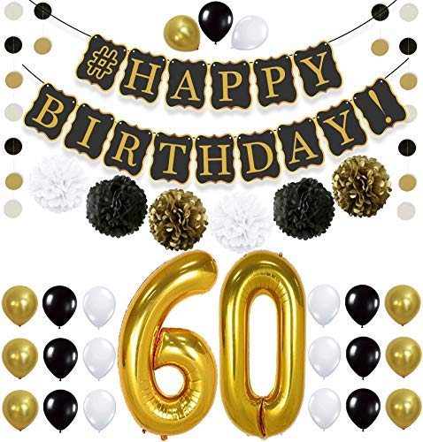 KatchOn 60th Birthday Decorations Kit - Gold Black and White Paper PomPoms, Tassel, Balloons, Circle Garland, Happy Birthday Banner Black and Black, Number 60 for 60th Birthday Party Supplies, Large -