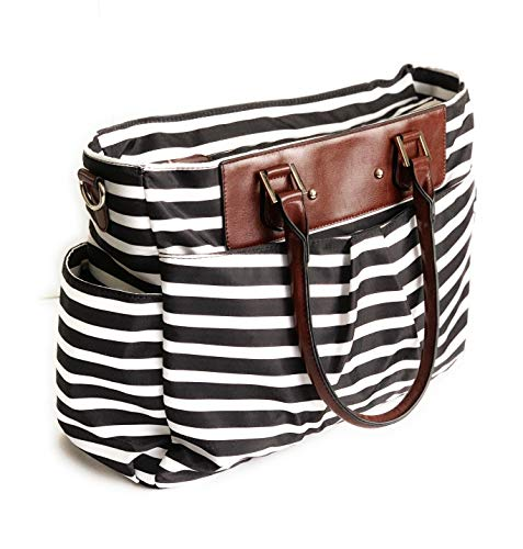 PROCHEL Trendy 2019 Manhattan Baby Diaper Bag Purse Tote Messenger Handbag Maternity Bag for mom Women Boys Girls. Stylish Chic Fashionable Fancy Crossbody Shoulder w/Changing pad Black White Stripes