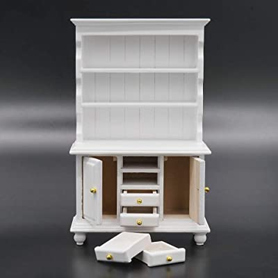 Odoria 1:12 Miniature White Kitchen Cabinet Cupboards with Working Drawer Dollhouse Furniture Accessories: Toys & Games