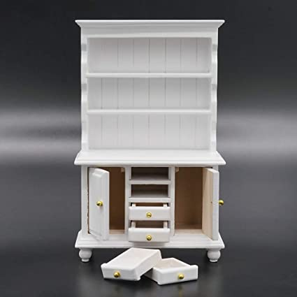 1:12 Dollhouse Miniature Furniture Wooden White Cabinet Doll House AccessoriesBH