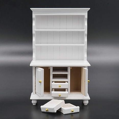 Odoria 1 12 Miniature White Kitchen Cabinet Cupboards With Working Drawer Dollhouse Furniture Accessories Decor Amazon Canada