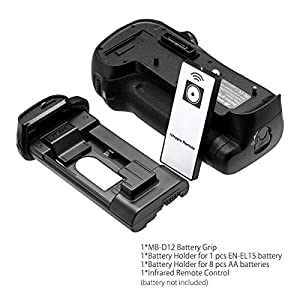 Powerextra MB-D12 Battery Grip Infrared Remote Control Replacement for Nikon D800/D800E/D810 Digital SLR Cameras Works with 1 pc EN-EL15 Battery Or 8 AA-size Batteries from DBK®