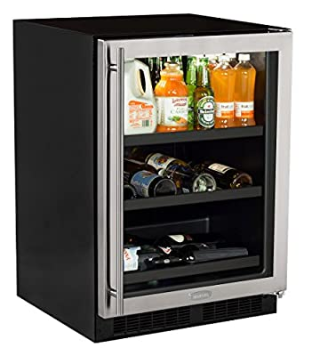 "Marvel 24"" Beverage Center with 3-in-1 split converter shelves and wine storage, stainless steel frame glass door"