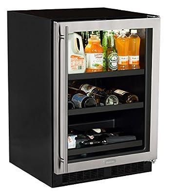 "Marvel 24"" Beverage Center with 3-in-1 split converter shelves and wine storage, stainless steel frame glass door"