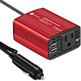 WINTEKD 150W Car Power Inverter DC 12V to 110V AC Converter with 3.1A Dual USB Charger Adapter (Red)