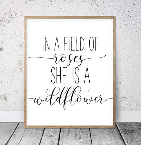 456Yedda in a Field of Roses She is a Wildflower Girls Nursery Wall Art Nursery Prints Girls Room Decor Nursery Quotes Baby Girl Wood Pallet Design Wall Art Sign Plaque with Frame Wooden Sign ()
