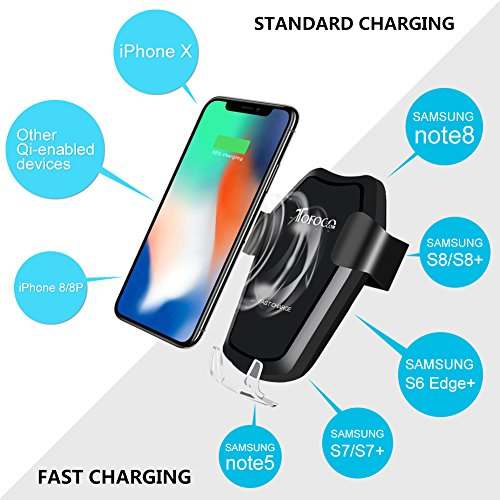 Automatic Qi Wireless Charger Car Mount Phone Holder For Samsung Galaxy S9 Plus/S9, S8 Plus/S8, S7/S7 Edge, Note 8/5, Apple iPhone X, 8 Plus/8 & Any Qi-enabled Device(Black) by TOFOCO COM (Image #5)
