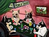 Home of Chihuahua 4 Dogs Playing Poker Art Portrait Print Woven Throw Sherpa Plush Fleece Blanket (37x57 Sherpa)