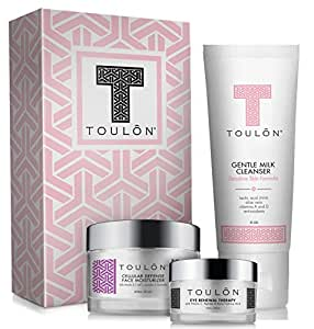 Anti Aging Skin Care Kits: Beauty Gift Sets for Women; Milk Face Cleanser, Antioxidant Day Cream for Face & Eye Cream for Dark Circles and Puffiness. Perfect Gift Set Kit