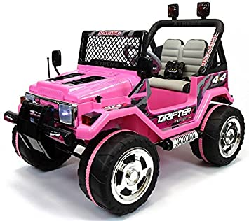 kids 2 seater 12v electric battery ride on car wrangler style jeep 4x4 pink