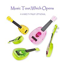 Children Learning Guitar Toys Fruits Style 4 Strings Play Simulation Early Educational Musical Instruments Kids Gift (Random color)