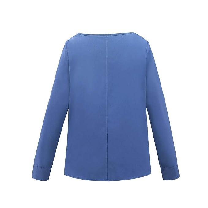 JiaMeng Mujeres Camisa de Manga Larga OL Casual Lazo de Lazo Blusa Suelta Blusa Blouse tee Top: Amazon.es: Ropa y accesorios