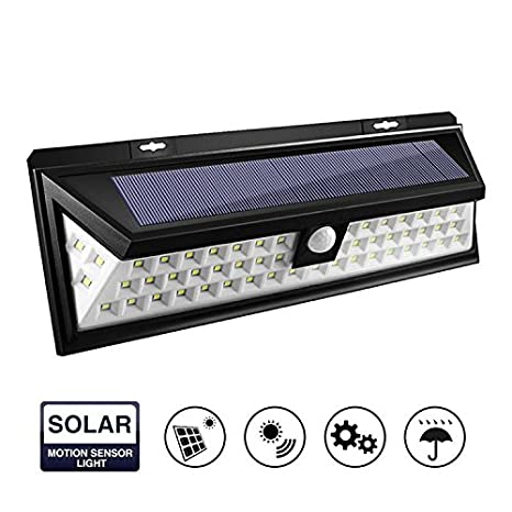 Luces solares al aire libre, inalámbricas 60 LED sensor de movimiento luces solares con amplia