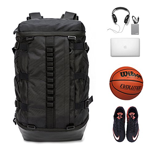 Basketball Backpack with ball compartment, 26L Gym Laptop Backpack, Soccer backpack with water bottle pockets
